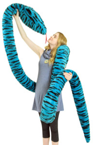 American Made 18 Foot Giant Stuffed Snake 216 Inches Long Soft Turquoise Big Plush Serpent