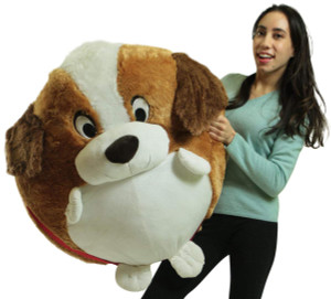 Big Plush Jumbo Stuffed Saint Bernard Soft Dog Smush Ball, 3 Feet Tall, 30 Inch Wide, Weighs 10 Pounds
