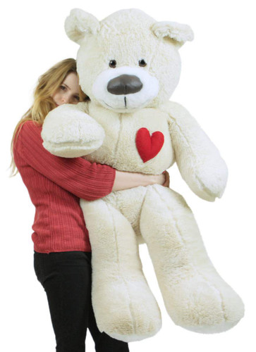5 Foot Super Soft White Teddy Bear With Heart On Chest To Express