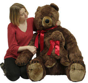 Big Plush Mama Bear With Baby Cub 3 Foot Soft Stuffed Animal, Weighs 14 Pounds