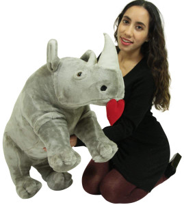 Jumbo Stuffed Rhinoceros With Heart in Mouth to Express Love, 32 inch Soft Plush Romantic Rhino