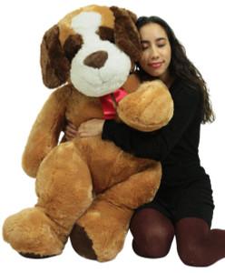 Giant Stuffed Saint Bernard  48 Inch Soft 4 Foot Big Plush Dog, Weighs 12 Pounds