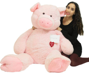 Giant Stuffed 4 Foot Pink Pig, Your Message in Zippered Chest Pocket With Heart to Express Love, 48 Inch Soft Plush