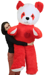 6 Foot Giant Stuffed Red Panda With Heart on Chest to Express Love, 72 Inch Soft Plush Bear Made in USA