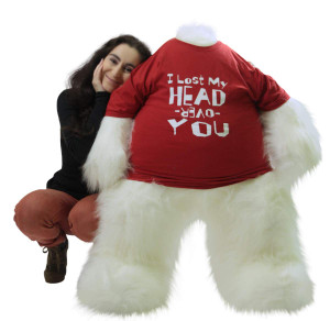 Insanely In Love Giant White Teddy Bear Lost His Head Over You, 4 Foot Soft Romantic Gift of Romance