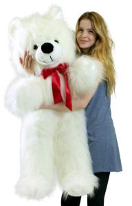 American Made Giant White Teddy Bear 46 inch Soft Big Plush Valentines Day Stuffed Animal