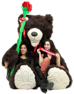 Ultimate Valentines Day Combo Big Plush 6 Foot Rose And 9 Foot Giant Brown Teddy Bear, Arrives in 1 Enormous Box