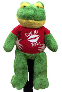 Giant Stuffed Frog Wears Kiss Me Baby Tshirt, 48 Inch Soft Big Plush Romantic Amphibian