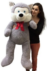 5 Foot Giant Stuffed Husky Dog 60 Inch Soft Big Plush Stuffed Animal Alaskan Husky