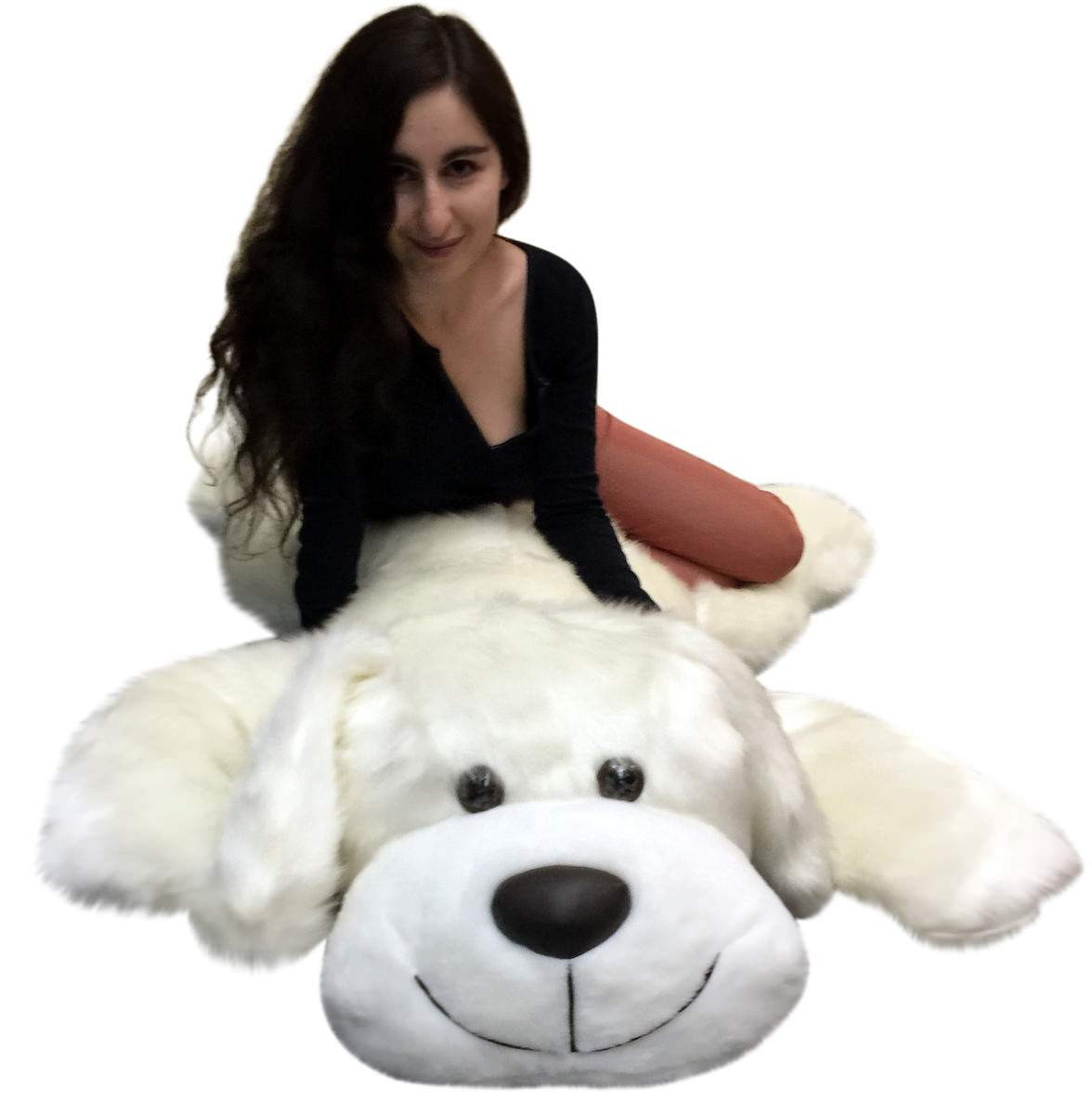 american made giant stuffed 5 foot dog 60 inch soft large plush puppy white color big plush. Black Bedroom Furniture Sets. Home Design Ideas
