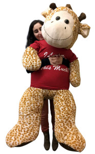 Giant Stuffed 5 Foot Giraffe 60 Inches Soft Wears Tshirt I Love You This Much