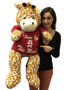 3 Foot Giant Stuffed Giraffe 36 Inch Soft Wears Removable Tshirt I Love You This Much