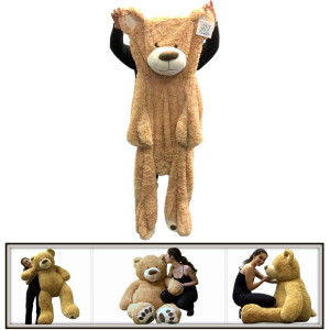 "60"" (5 Feet) Giant Teddy Bear Cover Tan ( Semi-Finished, Un-stuffed Skin, No Stuffing, Only Outer Shell with Zipper) 152 cm"