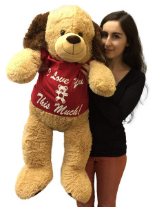 3 Foot Giant Stuffed Puppy Dog 36 Inch Soft Wears Removable Tshirt I Love You This Much