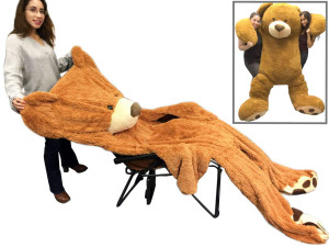 "96"" (8 Feet) Giant Un-Stuffed Teddy Bear Cover Honey Brown Color (Semi-Finished, Un-stuffed Skin, No Stuffing, Only Outer Shell with Zipper) 244 cm"
