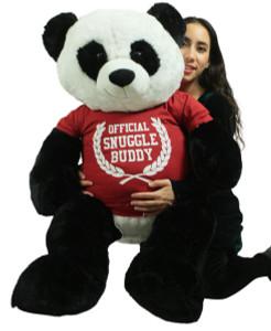 Giant Stuffed Panda 48 Inch Soft 4 Foot Teddy Bear, Wears  Tshirt Official Snuggle Buddy