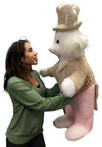 American Made Giant Stuffed Bunny Rabbit Wearing Tuxedo 4 Feet Tall Pink Pants Big Plush Rabbit