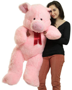 Big Plush Pink Pig 48 Inch Soft Stuffed 4 Foot Pig