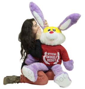 American Made Giant Stuffed Snuggle Buddy Bunny 50 Inch Soft Purple Rabbit Wears Removable Tshirt