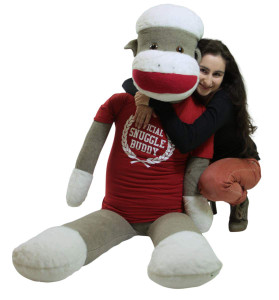 American Made Giant Plush Sock Monkey 6 Feet Tall Soft, Wears Removable Tshirt Official Snuggle Buddy
