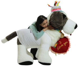 Ultimate Happy Birthday I Love You Gift, Giant Stuffed Saint Bernard 5 Foot Soft Plush Dog Dressed Up to Celebrate