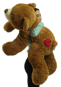 Giant Teddy Bear 36 Inch Honey Brown Soft 3 Foot Teddy Bear with Heart on Butt to Express Love
