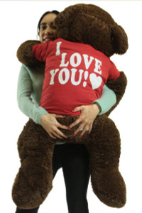 I Love You Giant Teddy Bear 36 Inch Soft Chocolate Brown Color 3 Foot Teddy Bear Wears Removable Tshirt