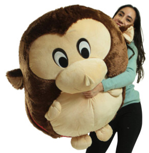 Big Plush Monkey Smush Ball, Jumbo Size 3 Feet Tall, 30 Inch Wide, Weighs 10 Pounds