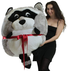 Big Plush Raccoon Smush Ball, Jumbo Size 3 Feet Tall, 30 Inch Wide, Weighs 10 Pounds