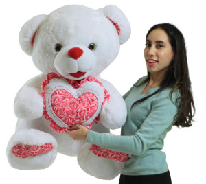 Giant Soft White Teddy Bear 30 Inches Holding Floral Design Heart Pillow, Gift of Love