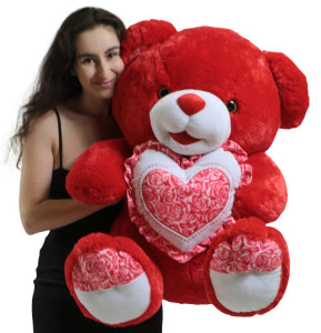 Giant Soft Red Teddy Bear 30 Inches Holding Floral Design Heart Pillow, Gift of Love