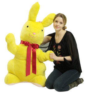 American Made Giant Stuffed Yellow Bunny Soft 42 Inch Big Plush Rabbit