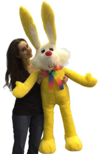 American Made Giant Stuffed Bunny 55 Inch Soft Yellow Big Plush Rabbit Made in USA