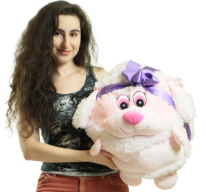 Big Plush Pink Poodle Smush Ball Soft 20 Inch Soft Stuffed Dog