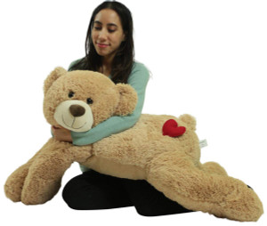 Giant Love Butt Teddy Bear 36 Inch Tan Soft 3 Foot Teddy Bear with Heart on Butt to Express Love