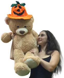 Giant 3 Foot Tan Teddy Bear Wearing Big Plush Pumpkin Hat, 36 Inches