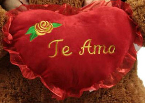 ADD A BIG PLUSH Spanish Language TE AMO HEART WITH YELLOW ROSE - WE WILL ATTACH IT TO YOUR STUFFED ANIMAL (NO Personalization)