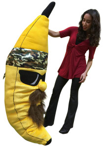 Giant Stuffed Banana With Beard and Camo Bandanna  6 Feet Tall Squishy Soft Huge Plushie