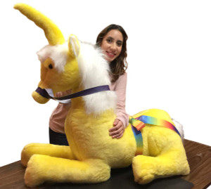 American Made Yellow Giant Stuffed Unicorn Soft 4 Feet Wide, 3 Feet Tall