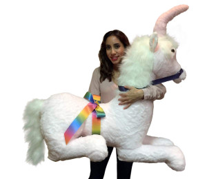American Made Pink Giant Stuffed Unicorn Soft 4 Feet Wide, 3 Feet Tall