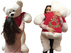 52-inch White Teddy Bear Wears 2-Sided Tshirt says Merry Christmas Yall on front and Christmas Tree on Back