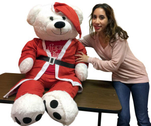 52-inch White Teddy Bear Wears Santa Suit and Santa Hat and Red Tshirt that says Merry Christmas