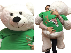 52-inch White Teddy Bear Wears 2-Sided Green Tshirt says Here Comes Santa Claus on Front and  Santa Hat and  Reindeer Antlers on Back