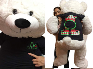 52-inch White Teddy Bear Wears 2-Sided Blue Tshirt says Elf In Training on Front and  Santa Hat and  Elf Hat on Back