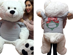 52-inch White Teddy Bear Wears 2-Sided Silver Tshirt says Deck the Halls on Front and  Has Christmas Wreath on Back