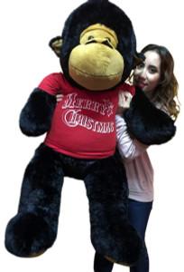 48-inch Jumbo Stuffed Gorilla Wears Red Tshirt that says Merry Christmas
