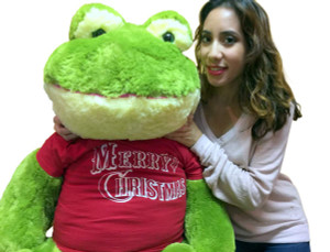 48-inch Jumbo Stuffed Frog  Wears Removable Red Tshirt that says Merry Christmas