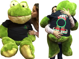 48-inch Giant Stuffed Frog Wears 2-Sided Blue Tshirt says Elf In Training on Front and Elf Hat on Back