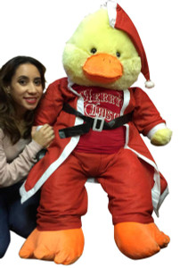 48-inch Giant Stuffed Duck Wears Santa Suit and Santa Hat and Red Tshirt that says Merry Christmas