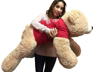 36-inch Big Teddy Bear Wears Removable Red Tshirt that says Merry Christmas